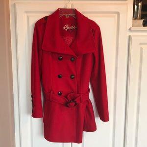 Guess women's red wool blend pea coat